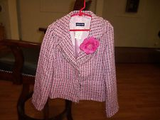LIMITED TOO GILS PINK WHITE BLACK TWEED FRINGED BLAZER SZ SMALL 10 NWT!