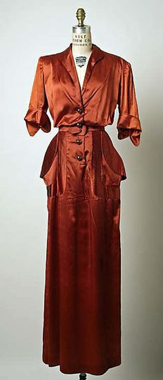 Dress, Dinner  House of Patou (French, founded 1919)  Date: 1949 Culture: French Medium: 2-ply French estron filament