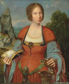 The Magdalene holding a Book of Hours in a landscape. The Master of the Mansi Magdalene (active Antwerp, Oil on panel. This panel shows the Magdalene, wearing a faintly exoticised red,. Mary Magdalene, Book Of Hours, Albrecht Durer, Old Master, Renaissance Art, Antwerp, Funny Art, Our Lady, Ciel
