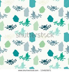 Seamless pattern with birdhouses and birds on the branches. Vector background. by TashaNatasha, via ShutterStock