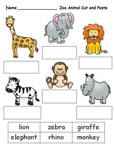 Free cut and paste worksheet on zoo animal names. See this and other K, 1 and 2 printable units at www.creativeclassroomconnections.