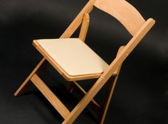 Folding Chair, Natural Wood with Ivory Padded Seat