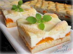 Tvarohový mřížkový koláč s meruňkami   NejRecept.cz Thing 1, Cheesecake, Pudding, Sweet, Food, Chocolate Blanco, Recipes, Lemon Tarts, Cherry