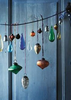 vintage ornies...hung from jute or bare tree branches....Noel!