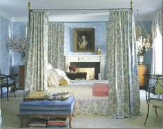 Charlotte Moss' epically famous Bedroom from the 2006 Kips Bay Showhouse in New York. That freestanding bed made quite a stir.