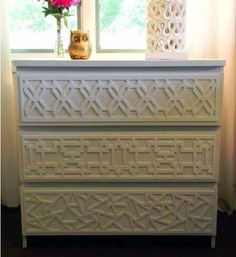 Overlays to dress up an IKEA dresser... THAT'S IT! I'm buying the big dresser and I'm doing this!