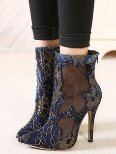 Blue Embroidery Sheer Panel High-heeled Ankle Shoes