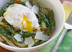 Asparagus and Poached Eggs over Pasta by skinnytaste #Pasta #Asparaguds #Poached_Egg: The egg yolks make a lovely sauce over pasta combined with quality ingredients like seasonal asparagus, Pecorino Romano, fresh ground pepper and kosher salt. #Pasta #Asparagus #Egg