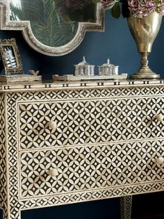 beautiful modern version of Moroccan traditional. From Soft Surroundings Paint Furniture, Home Decor Furniture, Furniture Makeover, Furniture Decor, Furniture Design, Moroccan Design, Moroccan Decor, Moroccan Bedroom, Moroccan Furniture