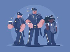 Group of police man and woman. Law, order and security. Vector illustration Vector files, fully editable.