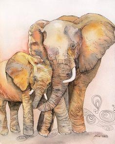 OOAK 8x10 Original Watercolor Elephant Baby Nursery art by asho, $20.00