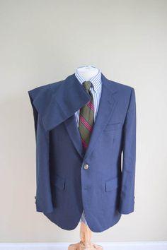 Mens Suit In Navy Blue Wool Two Piece Suit for Men 40R Nino Cerruti