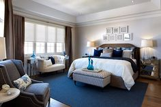 Jane Lockhart bedroom with navy blue accents