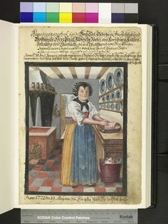 From: Die Hausbucher der Nurnberger Zwolfbruderstiftungen  The cook wearing skirt, blouse, a blue skirt and hood and handled with a loin roast. In addition to the pantry on the ground looking out a large, copper bucket a plucked goose or duck out. The wall shelf are pewter plate, on the flue pewter, various wooden spoon stuck in a rack on the door. 1688