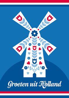 Ansichtkaart MOLEN - Een blauwe Hollandse ansichtkaart met een illustratie van een molen en de tekst 'groeten uit Holland' erop: http://postenpapier.nl/product/ansichtkaart-molen-2/