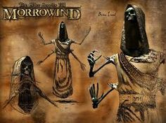 The Elder Scrolls III Morrowind. Bone lord art. These Bone Lords could be pretty tough when you were a low-level player!  They hovered and darted around a lot too, making them very difficult to get a bead on!
