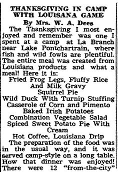 "Thanksgiving recipes published in the Times-Picayune newspaper (New Orleans, Louisiana), 23 November 1946. Read more on the GenealogyBank blog: ""Old Fashioned Thanksgiving Recipes in the Newspaper."" http://blog.genealogybank.com/old-fashioned-thanksgiving-recipes-in-the-newspaper.html"