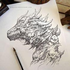 Skulls // Dragon  #artoftheday #artwork #instaart #instadraw #fantasyart #arte #art #artetradicional #traditionalart #boligrafo #dibujantenocturno #dibujante #illustrations #illustration #ilustracion #conceptart #deviantart #demon #draw #drawing #dibujar #dibujo #boceto #sketchbook #sketches #sketch #dragon