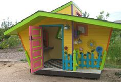 cute for a play house for kids in AW Cubby Houses, Play Houses, Dr Seuss House, Playhouse Outdoor, Playhouse Ideas, Outdoor Play, Wendy House, Play Spaces, Backyard For Kids