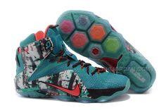 """65ab44a0032 Nike LeBron 12 """"Christmas"""" Teal Graphic Printed-Crimson"""