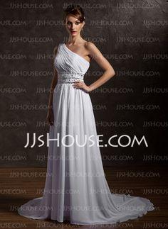 A-Line/Princess One-Shoulder Court Train Chiffon Wedding Dress With Ruffle Beadwork (002012661)