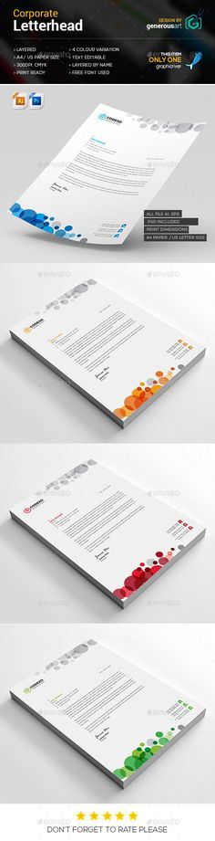 Corporate Letterhead Letterhead template, Template and - psd letterhead template
