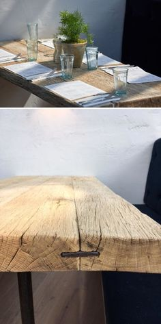 """""""Driftwood """" Table top by Craft-B at 601 Queen's RD Solid Wood Furniture, Custom Furniture, Furniture Design, Oak Table Top, Oak Dining Table, Driftwood Coffee Table, Industrial Style Coffee Table, Cliff House, Table Top Design"""