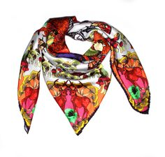 Titania: A classic square scarf featuring a fantasy woodland scene with fairy queens and foxes. This shape of scarf can be styled in a variety of ways to suit your mood and outfit.   Designed by talented young designer from Scotland, Helen Ruth. Helen hand drew the painting and then digitally printed on 100% silk twill to give a soft luxurious feeling to the wearer.   Material: 100% silk twill  Hand-rolled edge  Made in Scotland (UK) #Silk #Scarf