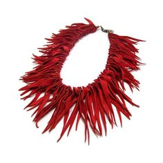 this could look really cute with the right dress. leather fringe necklace