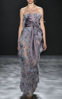 Ostrich Feathers Peplum Gown  by MARCHESA for Preorder on Moda Operandi