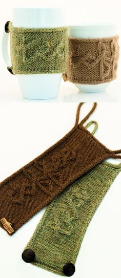 """Knitting Pattern for Cuppa Cozy - The unique cabled letters spell out """"coffee"""" and """"tea"""" in cursive in these statement cup cosies. Knit with 50 (55) yds sport-weight yarn. Fastened with ties to adapt to different sized mugs,"""