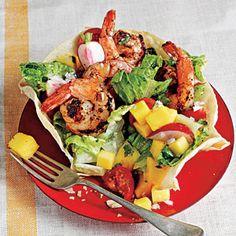 Indoor Grilling at Its Best  | Chipotle-Rubbed Shrimp Taco Salad | MyRecipes.com