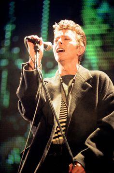 David Bowie performing at The Big Twix Mix concert at Birmingham's NEC in…