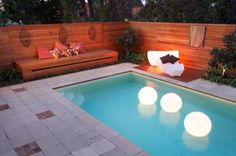 Inspirational: Pool lights and... lit furniture? Very cool