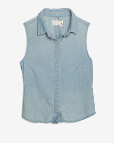 rag & bone/JEAN Sleeveless Washed Denim Shirt