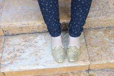 studded gold glitter loafers
