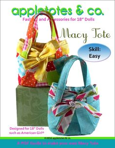 Appletotes & Co Macy Tote Doll Accessory Pattern 18 inch American Girl Dolls | Pixie Faire