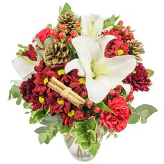Christmas Carol #winter #flowers #white #lilies #lily #red #carnations #gerberas #Christmas #bouquet #celebratechristmas #bestseasonever #florist #London