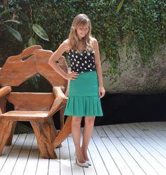 {Saia Folds} saia lisa média de pregas da coleção Resort 2015