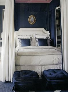 bedroom with navy wall, canopy.