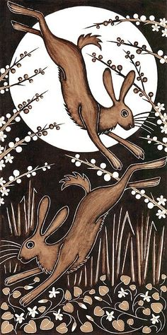 March Hares, 2013 Woodcut Art Print by Nat Morley. All prints are professionally printed, packaged, and shipped within 3 - 4 business days. Choose from multiple sizes and hundreds of frame and mat options. Art And Illustration, Illustrations, Watercolour Illustration, Fantasy Kunst, Fantasy Art, Woodcut Art, Year Of The Rabbit, March Hare, Into The Fire
