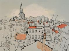 lucinda rogers drawing ink watercolour prints for sale london cityscape rooftops. lucinda rogers d London View, London Art, West London, Cityscape Drawing, City Drawing, Building Illustration, Architecture Sketches, Urban Sketchers, Urban Landscape