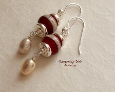 Burgundy Red Lampwork Glass Bead Earrings