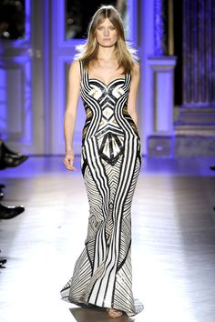 Zuhair Murad Haute Couture S/S 2012. black and moss stripes