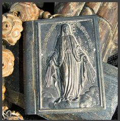 Incredible Tin Book and Madonna Rosary Necklace by thesacredmaiden,