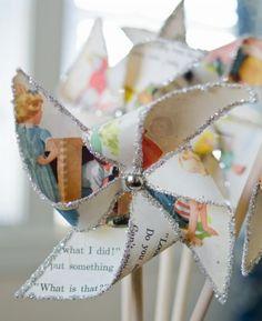 Sparkly Pinwheel  Create these sparkly pinwheels to use as a centerpiece.