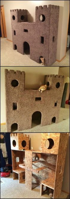 Plywood Cat Castle DIY Cat Project: How to build the ultimate cat castle! This is a great idea to keep indoor cats busy.DIY Cat Project: How to build the ultimate cat castle! This is a great idea to keep indoor cats busy. Animal Projects, Diy Projects, Cat Castle, Cat Towers, Ideal Toys, Cat Room, Cat Condo, Pet Furniture, Repurposed Furniture