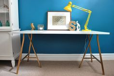 "Customized desk from Ikea ""Vika Amon"" tabletop and ""Vika Lerberg"" trestle legs"