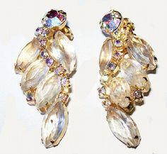vanilla rhinestone Juliana D&E earrings clip on style