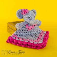 Crochet Elephant Lovey/ Crochet Security Blanket/ Baby Boy Lovey/ Comfort Blanket / Baby Elephant Blanket/ Photo Prop / Made to Order Cute Crochet, Crochet For Kids, Crochet Crafts, Crochet Projects, Knit Crochet, Cotton Crochet, Crochet Security Blanket, Crochet Blanket Patterns, Baby Blanket Crochet